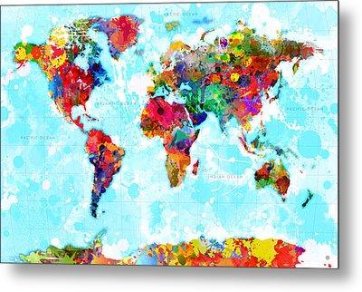 World Map Splattered Metal Print by Gary Grayson