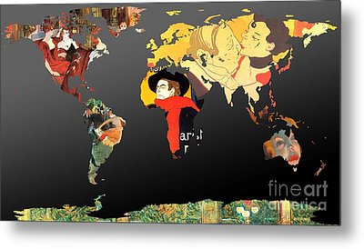 Toulouse-lautrec 2  World Map Metal Print by John Clark