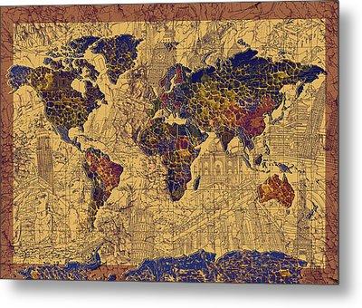 World Map Vintage Metal Print