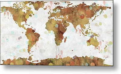 World Map Watercolor 3 Metal Print by Paulette B Wright