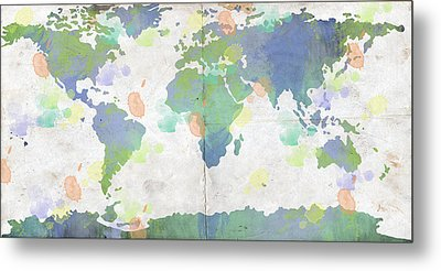 World Map Watercolor 4 Metal Print by Paulette B Wright