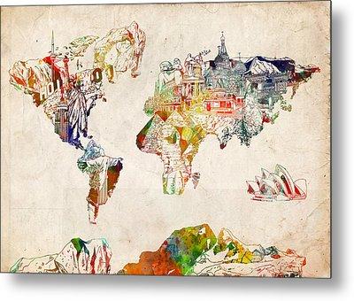 World Map Watercolor 5 Metal Print