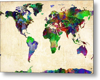 World Map Watercolor Metal Print by Gary Grayson