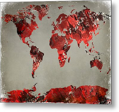 World Map - Watercolor Red-black-gray Metal Print by Paulette B Wright