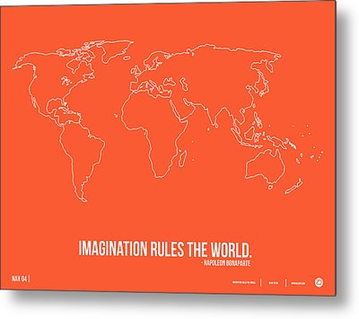 World Map With A Quote 7 Metal Print by Naxart Studio