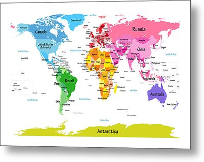 World Map With Big Text  Metal Print by Michael Tompsett