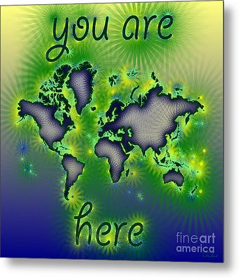 World Map You Are Here Amuza In Blue Yellow And Green Metal Print by Eleven Corners