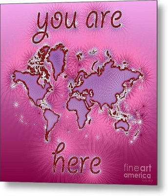 World Map You Are Here Amuza In Purple And Pink Metal Print by Eleven Corners