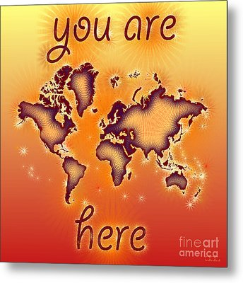 World Map You Are Here Amuza In Red Yellow And Orange Metal Print by Eleven Corners