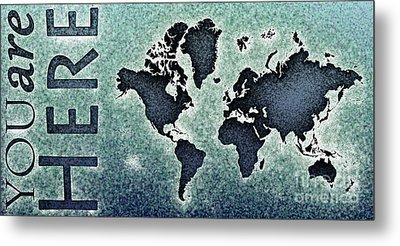 World Map You Are Here Novo In Black And Blue Metal Print by Eleven Corners