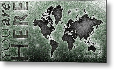 World Map You Are Here Novo In Black And Green Metal Print by Eleven Corners