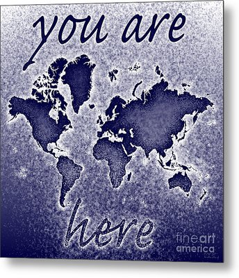 World Map You Are Here Novo In Blue Metal Print by Eleven Corners
