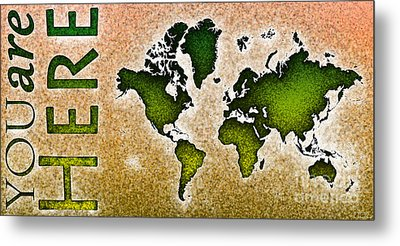 World Map You Are Here Novo In Green And Orange Metal Print by Eleven Corners
