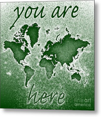 World Map You Are Here Novo In Green Metal Print by Eleven Corners