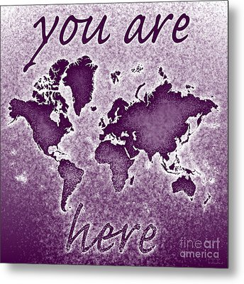 World Map You Are Here Novo In Purple Metal Print by Eleven Corners