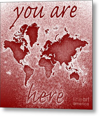 World Map You Are Here Novo In Red Metal Print by Eleven Corners