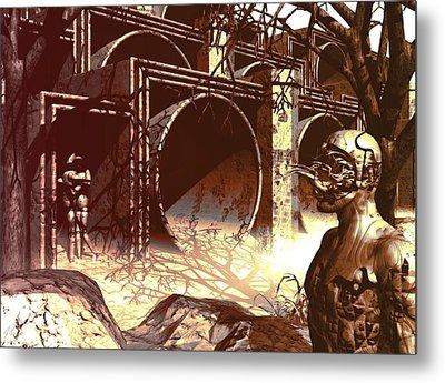Metal Print featuring the digital art World Of Ruin by John Alexander