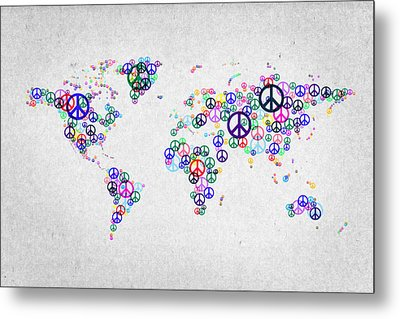 World Peace Map Metal Print by Aged Pixel