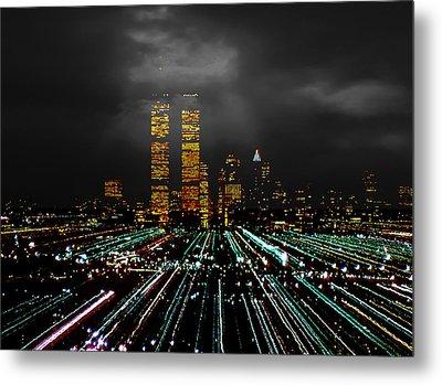 World Trade Center At Night 1980 Metal Print