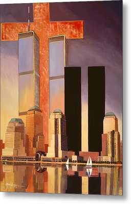 Metal Print featuring the painting World Trade Center Memorial by Art James West