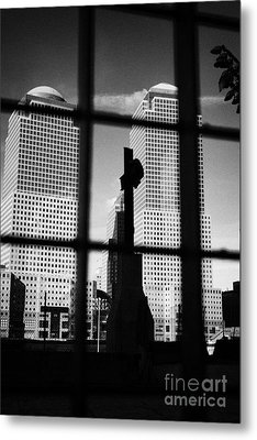 World Trade Center Memorial Cross With World Financial Centre Buildings Behind Ground Zero Metal Print
