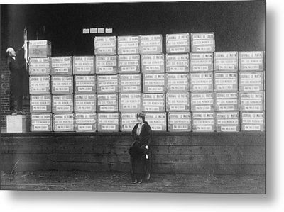 World War I Cigarette Shipment Metal Print by Library Of Congress