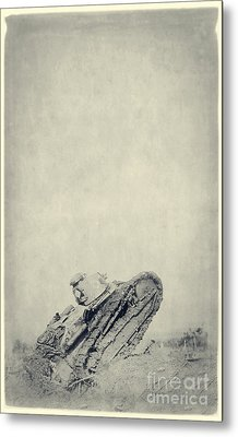 World War I Tank In Trench Warfare Metal Print by Edward Fielding