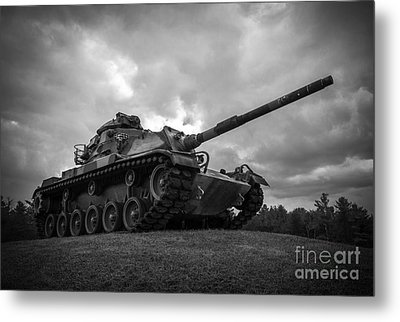 World War II Tank Black And White Metal Print
