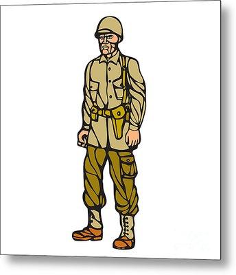 World War Two Soldier Standing Linocut Metal Print by Aloysius Patrimonio