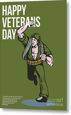 World War Two Veterans Day Soldier Card Metal Print by Aloysius Patrimonio