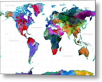 World Watercolor Map #3 Metal Print