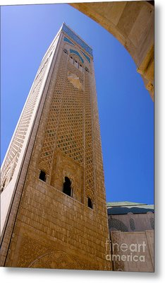 Metal Print featuring the photograph Worlds Tallest Minaret At 210m Hassan II Mosque Grand Mosque Sour Jdid Casablanca Morocco by Ralph A  Ledergerber-Photography