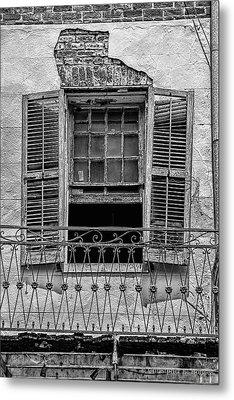 Worn Window - Bw Metal Print by Christopher Holmes