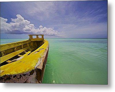 Worn Yellow Fishing Boat Of Aruba II Metal Print