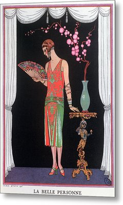 Worth Evening Dress Fashion Plate From Gazette Du Bon Ton Metal Print by Georges Barbier