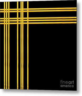 Woven 3d Look Golden Bars Abstract Metal Print by Rose Santuci-Sofranko