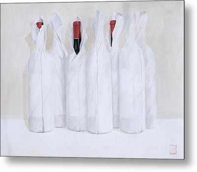 Wrapped Bottles 3 2003 Metal Print by Lincoln Seligman