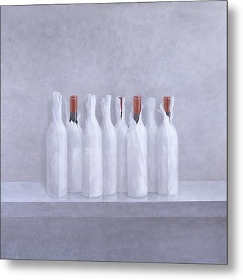 Wrapped Bottles On Grey 2005 Metal Print by Lincoln Seligman