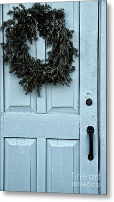 Wreath On Old Blue Door Metal Print by Birgit Tyrrell