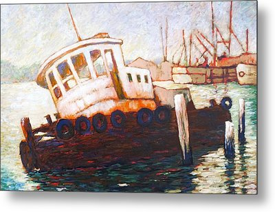 Metal Print featuring the painting Wrecked Tug by Charles Munn
