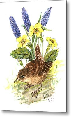 Wren In Primroses  Metal Print by Nell Hill