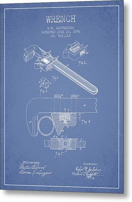 Wrench Patent Drawing From 1896 - Light Blue Metal Print