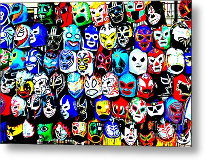 Wrestling Masks Of Lucha Libre Altered Metal Print by Jim Fitzpatrick