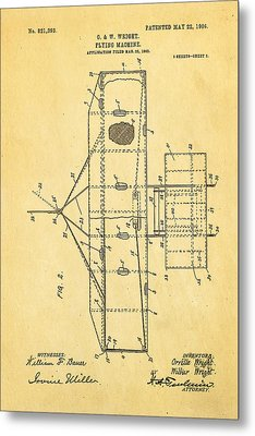 Wright Brothers Flying Machine Patent Art 2 1906 Metal Print