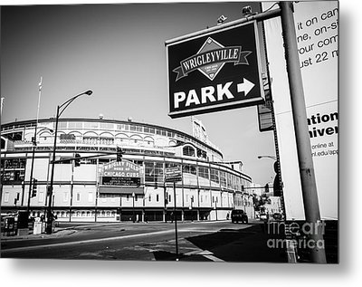 Wrigley Field And Wrigleyville Signs In Black And White Metal Print by Paul Velgos