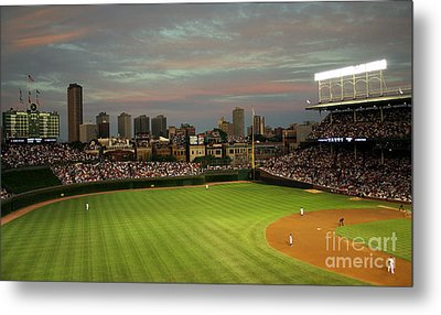 Wrigley Field At Dusk Metal Print