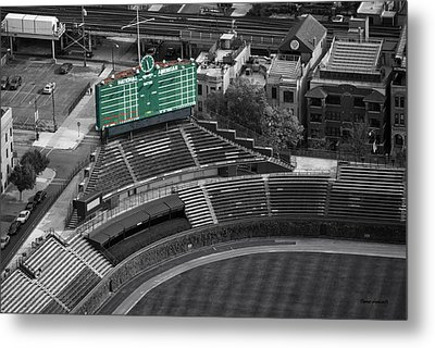 Wrigley Field Chicago Sports 04 Selective Coloring Metal Print by Thomas Woolworth