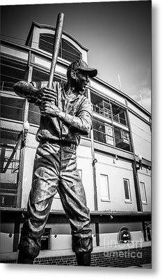 Wrigley Field Ernie Banks Statue In Black And White Metal Print