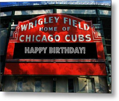 Wrigley Field -- Happy Birthday Metal Print by Stephen Stookey