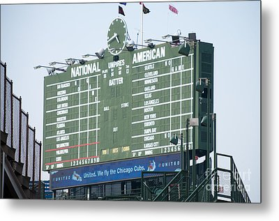 Wrigley Field Scoreboard Sign Metal Print by Paul Velgos